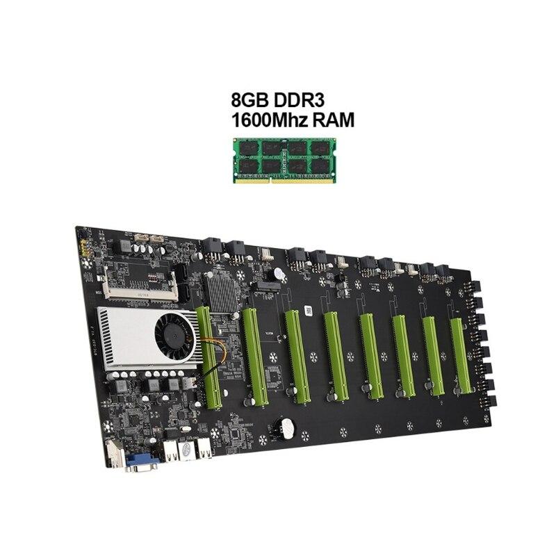 لوحة الأم للتعدين اللاسلكي D37 8 وحدة المعالجة المركزية PCI-E 16X فتحة 8GB DDR3 Sodimm ذاكرة لبيتكوين التشفير Ethereum التعدين 1600MHz