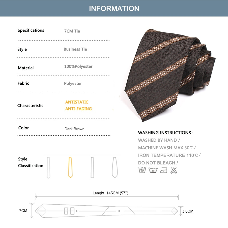 New Brown 7CM Striped Ties For Men Business Suit Work Necktie High Quality Fashion Formal Cravate With Gift Box
