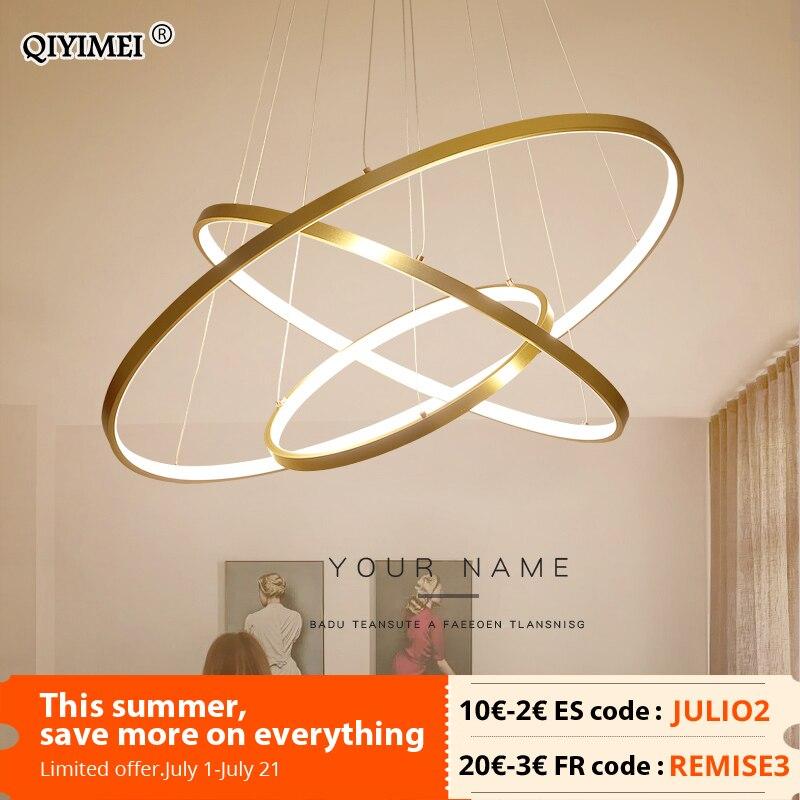 الحديثة قلادة LED أضواء لغرفة الطعام المعيشة أبيض/الذهب/القهوة/أسود دائرة خواتم مصباح ألمنيوم تركيبات المنزل إضاءة داخلية