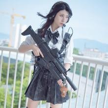 Military Women Warrior Girl Tactical Uniform Skirt Cosplay Costume With Skirt Shirt Thigh High Socks - Black Python Pattern XL