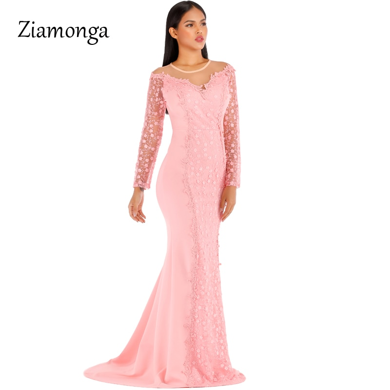 Ziamonga 2020 vestido longo venda quente vestido de renda floral nova malha manga longa festa outono empresa reunião anual anfitrião cauda peixe