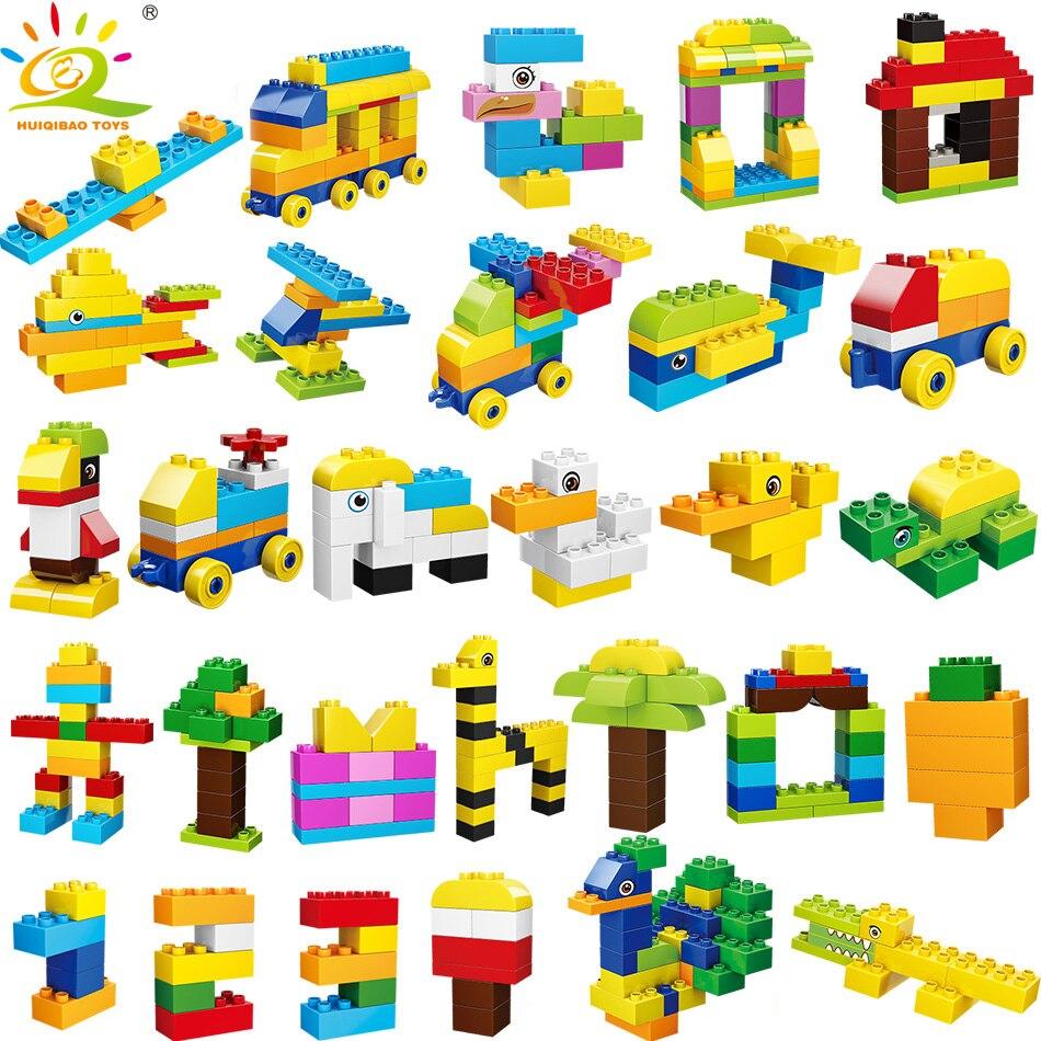 Juguetes 200 Uds Duplo City Construction Classic Animal Car Tree tallas grandes bloques de construcción ladrillos para niños