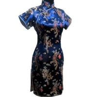 navy blue traditional chinese women dress satin short qipao vintage button dragon cheongsam plus size 3xl 4xl 5xl 6xl