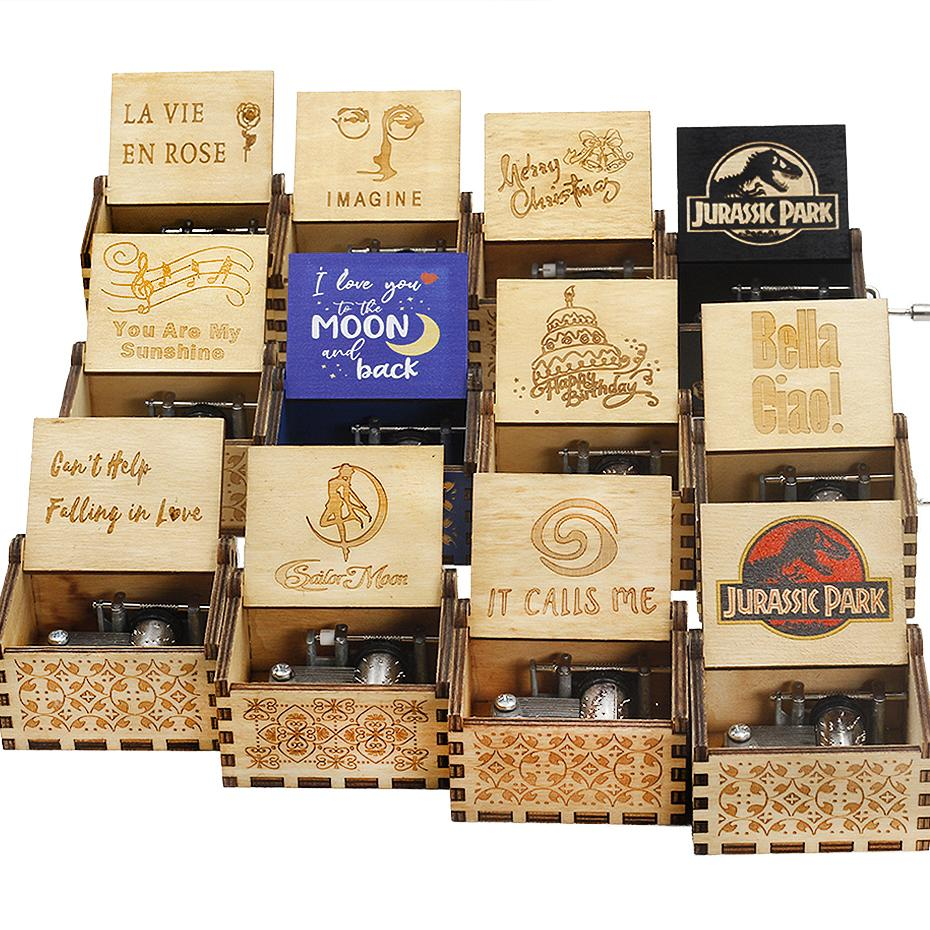 Hot Wooden Hand Crank Queen Music Box Bohemian Rhapsody Theme Love Dad Love Mom You Are Our Sunshine
