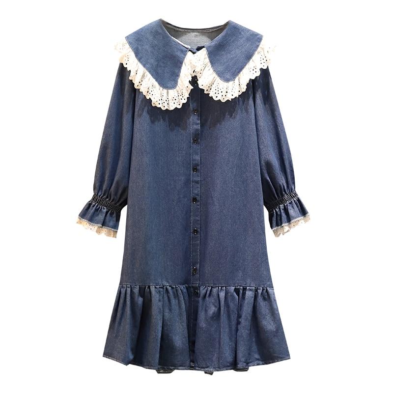 5xl good quality plus big size women clothing 2020 spring autumn winter loose casual sweet denim lace stitch dress female A5459