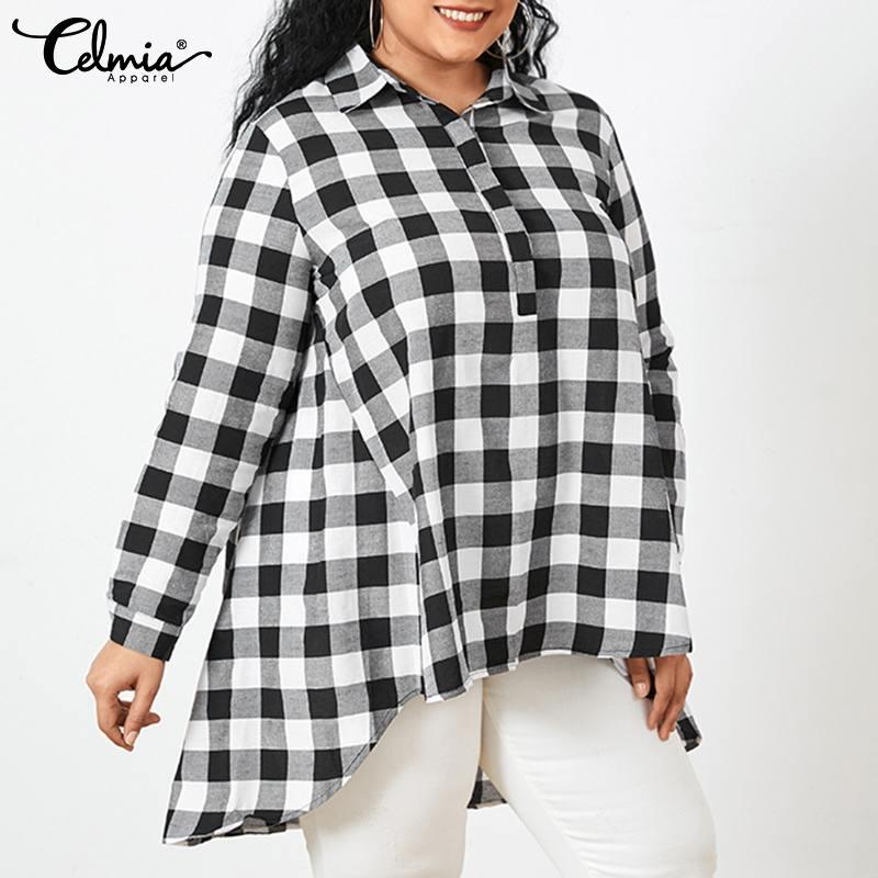 Celmia Women Vintage Plaid Lapel Long Blouses 2021 Fashion Asymmetrical Shirts Casual Loose Long Sleeve Tunic Tops Plus Size