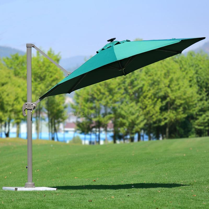 Outdoor Parasol Outdoor Umbrella Garden Terrace Large Folding Aluminum Alloy Solar Roman Umbrella With LED Light 3m Furniture