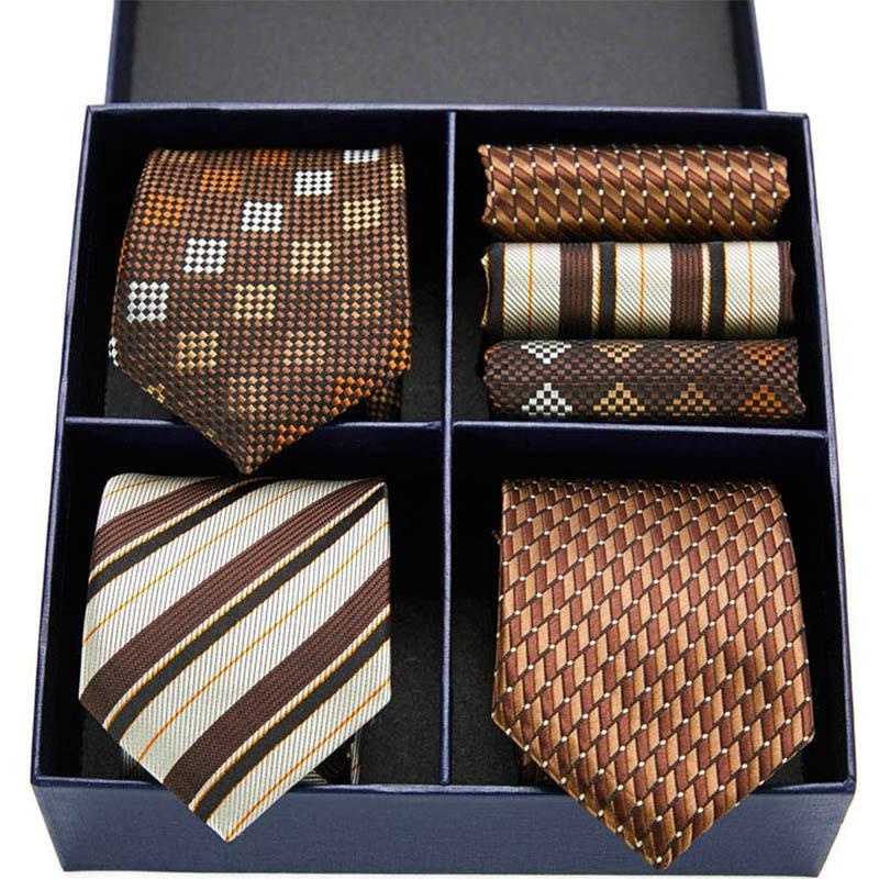 New Stripe men ties set Extra Long Size 145cm*7.5cm Necktie Paisley Silk Jacquard Woven Neck Tie Suit Wedding Party Gift Box недорого