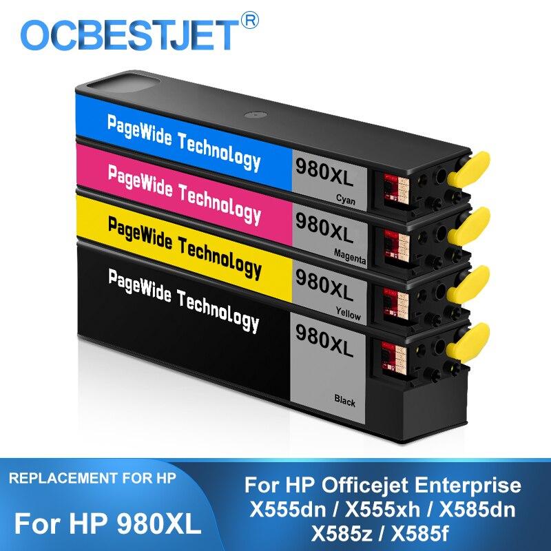 [طرف ثالث العلامة التجارية] ل HP 980XL 980 خرطوشة حبر متوافقة مع صبغ حبر طابعة اتش بي المؤسسة X555dn X555xh X585f X585dn X585z