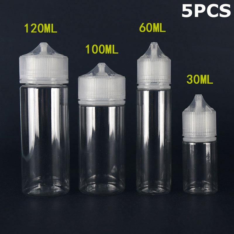 5 шт. X 30 мл 60 мл 100 мл 120 мл пустая пластиковая жидкость для отжима сока и масла жир Vape капельница бутылки банки прозрачные контейнеры CRC крышки наконечники