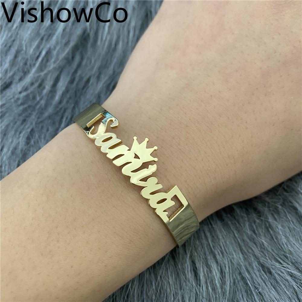 VishowCo именной браслет на заказ, персонализированные браслеты из нержавеющей стали с именной табличкой, регулируемые самодельные браслеты с ... именной подстаканник заслуженный следователь позолота в футляре