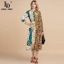 LD LINDA DELLA Spring Summer Fashion Runway Vintage Dress Womens Long Sleeve Retro Patchwork Leopard print Midi Shirt Dress