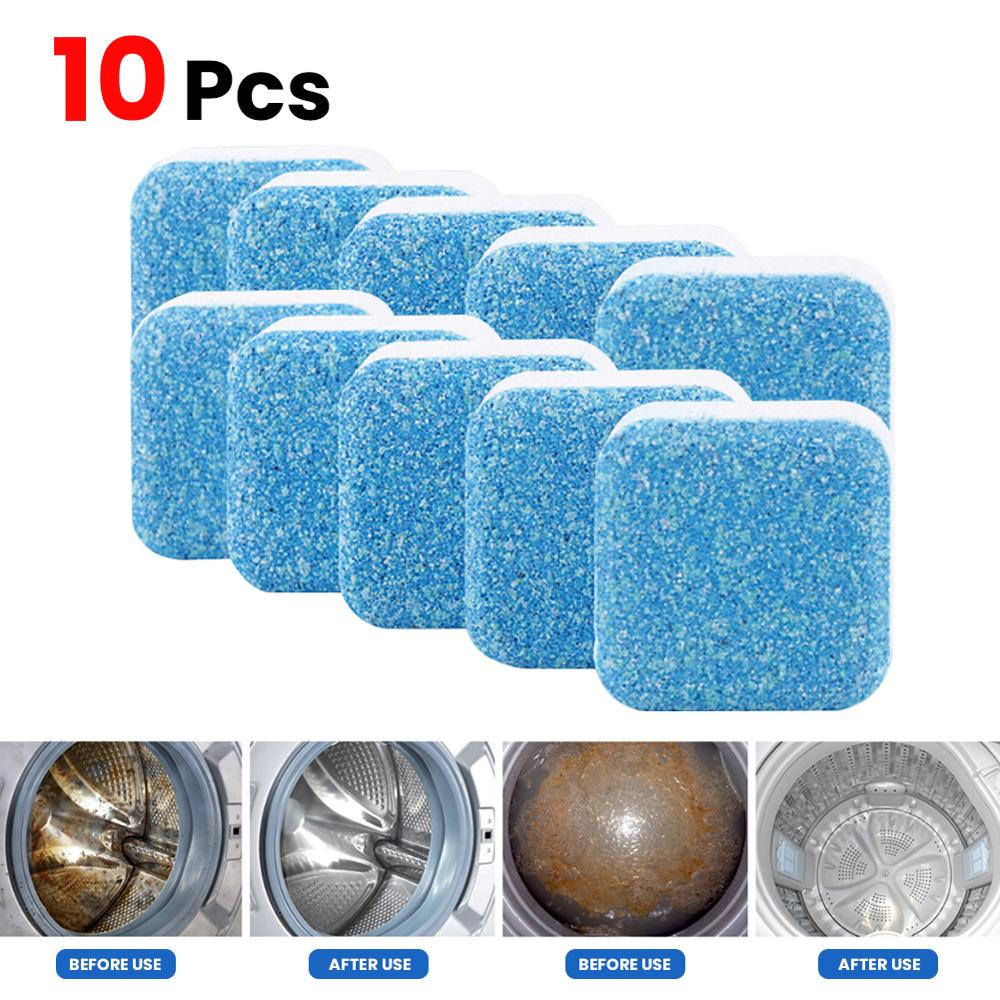 10 pçs útil máquina de lavar roupa descaler limpeza profunda removedor desodorante durável multifuncional suprimentos de lavanderia