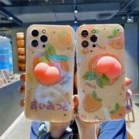 cute peach reliver stress antistress phone case for iphone 11 12 pro max x xs xr iphone case for iphone 7 8 plus kawaii cover