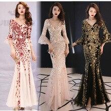 Robes de femmes de haute qualité strass chaud Sexy queue de poisson robe de Banquet longue mince Noble élégante princesse robe de soirée