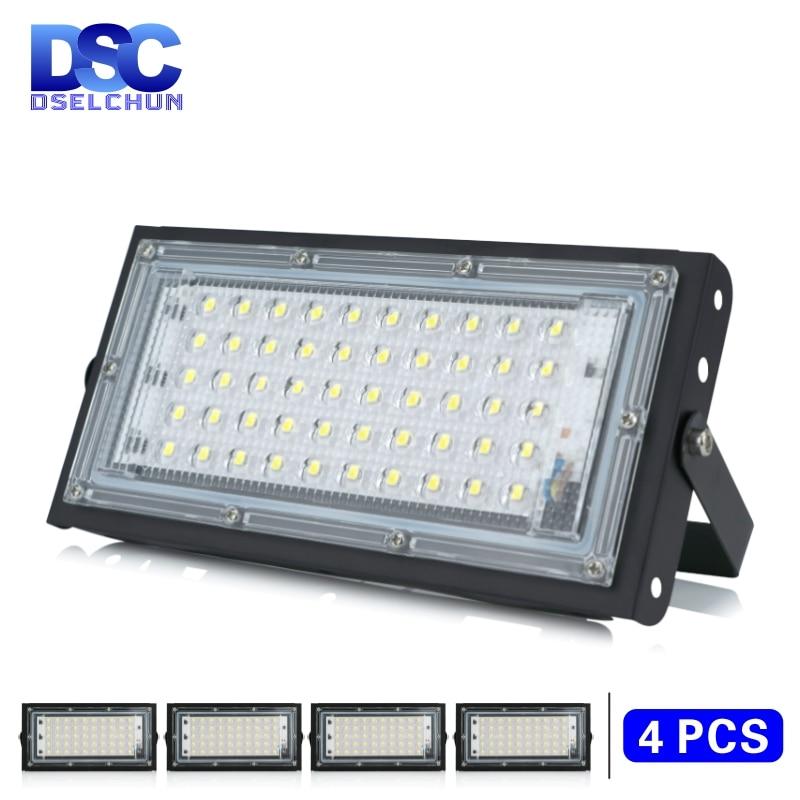 4 unids/lote 50W Led Luz de inundación AC 220V 230V 240V al aire libre reflector IP65 impermeable LED farola paisaje iluminación