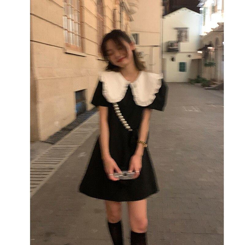 Design Sense Dress Gentle Dress Female Korean Style Loose Doll Neck Bubble Sleeve Fugitive Princess