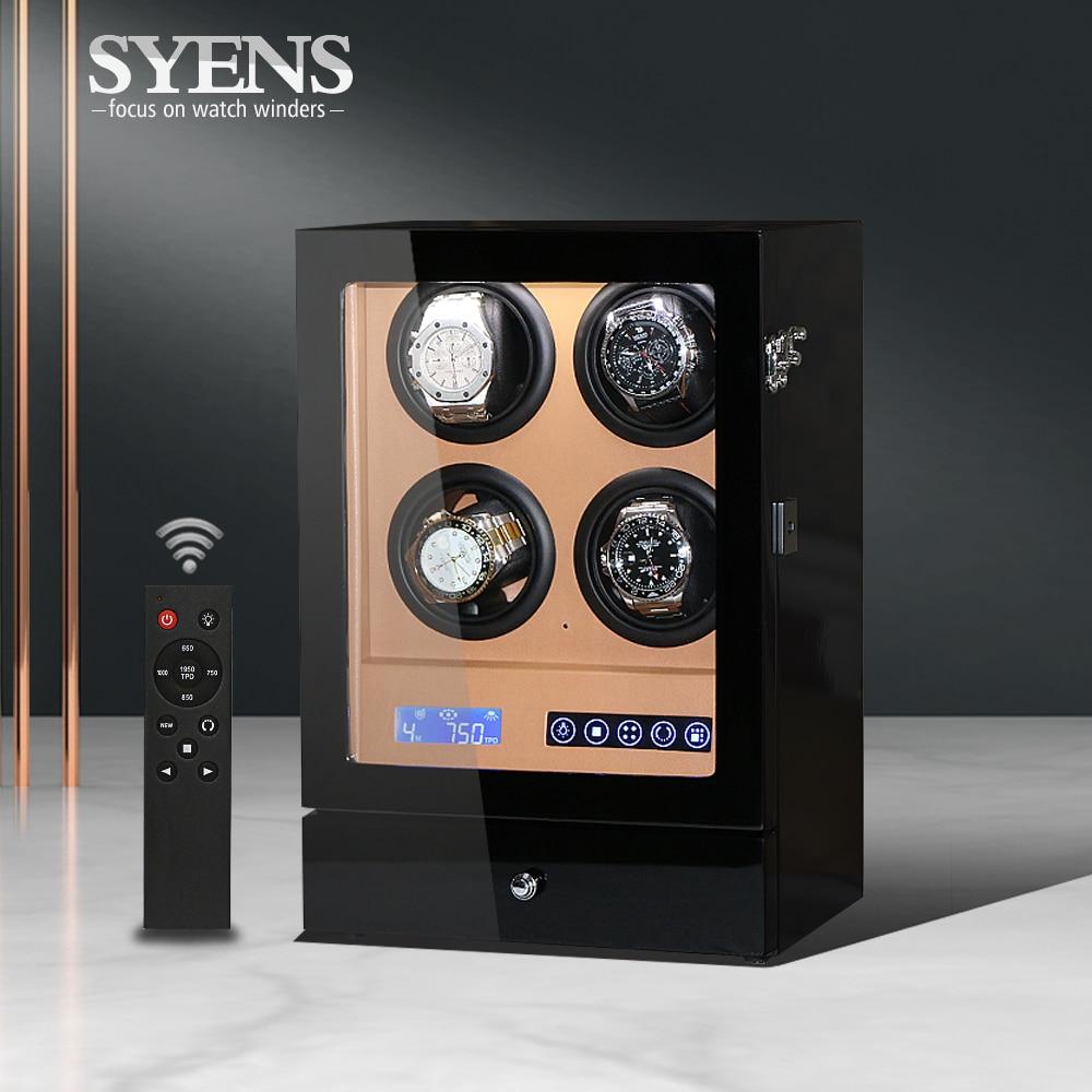 Watch Winders 4 Slots Wood Black Electric Watch Box Silent Motor Display Clock Luxury Watch Case With LED Light Global Plug