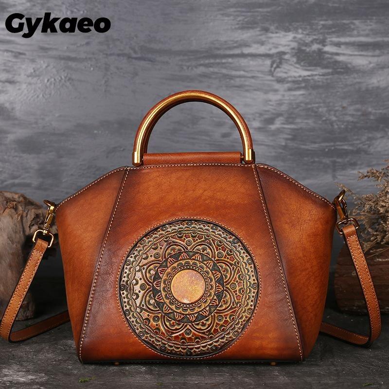 Bolsos de lujo para mujer, bolsos de diseñador de cuero auténtico, bolso de mano para mujer, bolsos de hombro de piel de vaca para Flor Retro, bolso de mensajero para madre