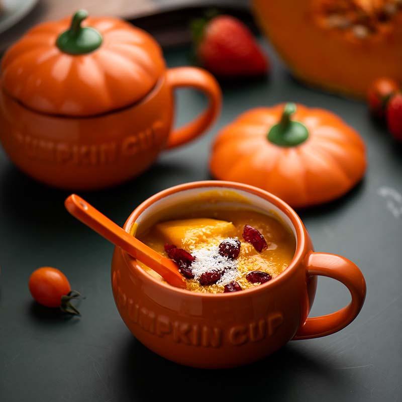 Чашка в подарок на Хэллоуин, большая емкость, симпатичная, изображение тыквы, керамическая кофейная чашка, чашка для молока, супа с крышкой, ...