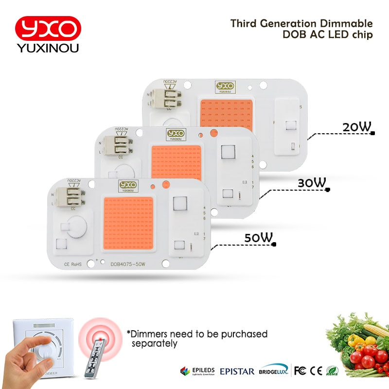 grow light AC 220V20W30W50W driverless LED plant growth chip smart IC for indoor garden DIY growth and blooming plant lamp beads