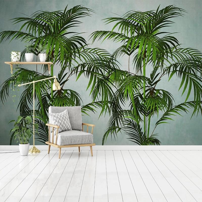 Настенные 3D-обои для спальни и столовой, декор на заказ, Тропическое зеленое растение, листья банана, современные украшения для дома