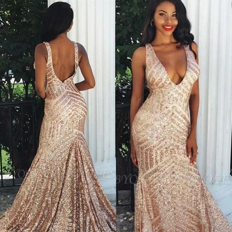 2021 Backless Rose Gold Deep V neck Sexy Mermaid Prom Dresses Sequins Open Back Pageant Gowns Custom