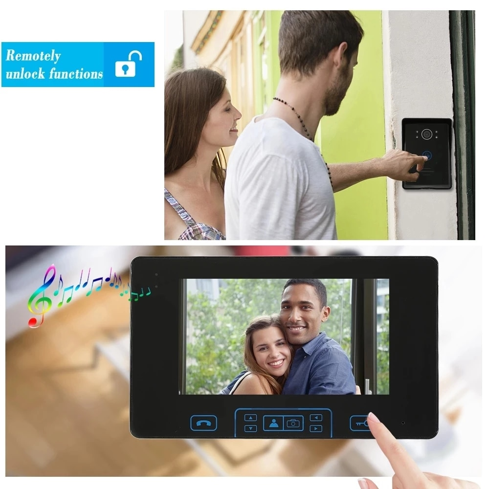 New Wireless Video Intercom with Wireless 7''Touch Key Screen Access Control System Doorbell Built-in Battery Night Vision enlarge