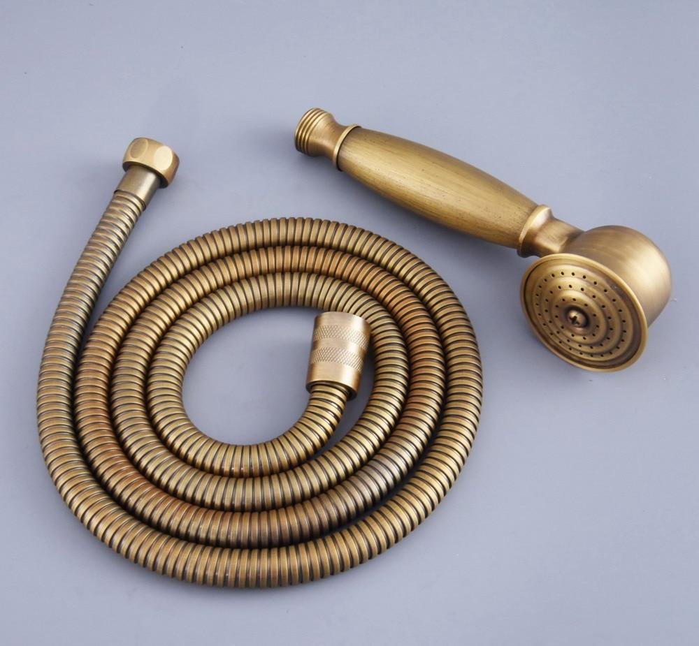 Antique Brass Telephone Hand Held Shower Head & 1.5 m Hose Water Saving Handheld Sprayer Shower Set Nhh119