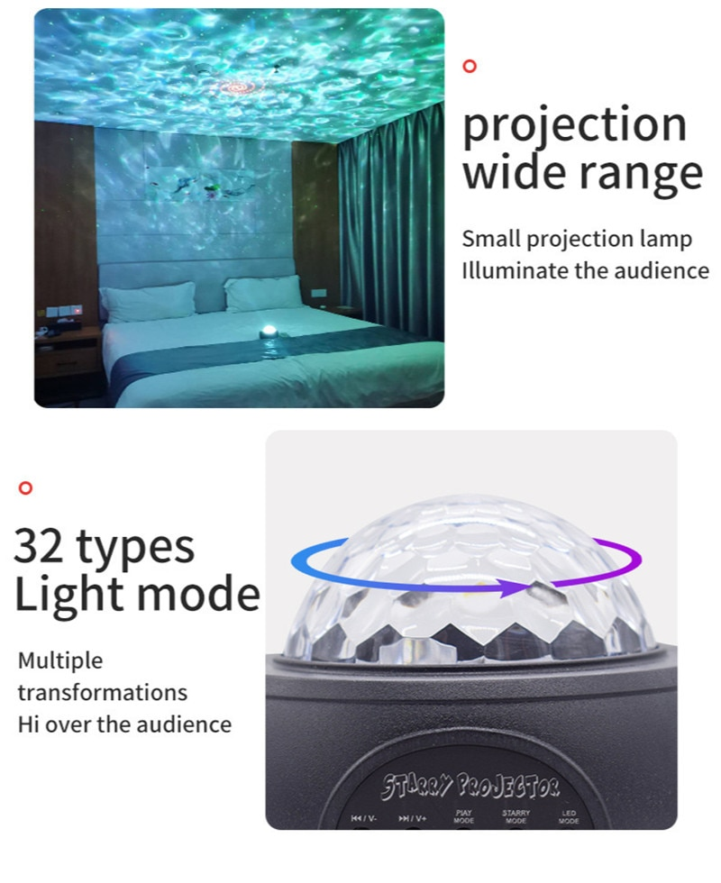 Led Starry Sky Projector Lamp Star Light LED Laser Projection Night Lamp Bedroom Usb Bluetooth Voice Control Night Light Gifts enlarge