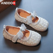 Size 21-30 Children Pearl Rhinestone Leather Shoes Girls Kids Cute Bow Princess Single Shoes Baby Fa