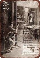 Panneau de signalisation en metal  Vintage  20x30 CM  Collection dart 1913  retro  attaque du Colt  decoration  couloir de cinema  Bar  bistrot  maison