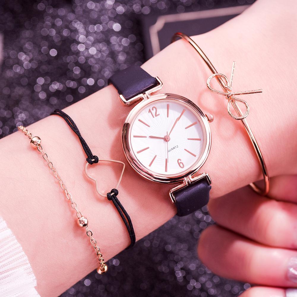 4PCS /Set Fashion Ladies Bracelet Quartz Watches Fashion Women Leather Dress Sports Wrist Watch Hand Clock Relogio feminino