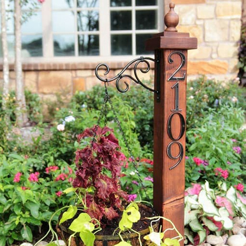 "Купить с кэшбэком 101mm Black House Number Door Sign Big Huisnumer Outdoor Address Mailbox Numbers Modern home Apartment Signs Metal Zinc Alloy 4"""