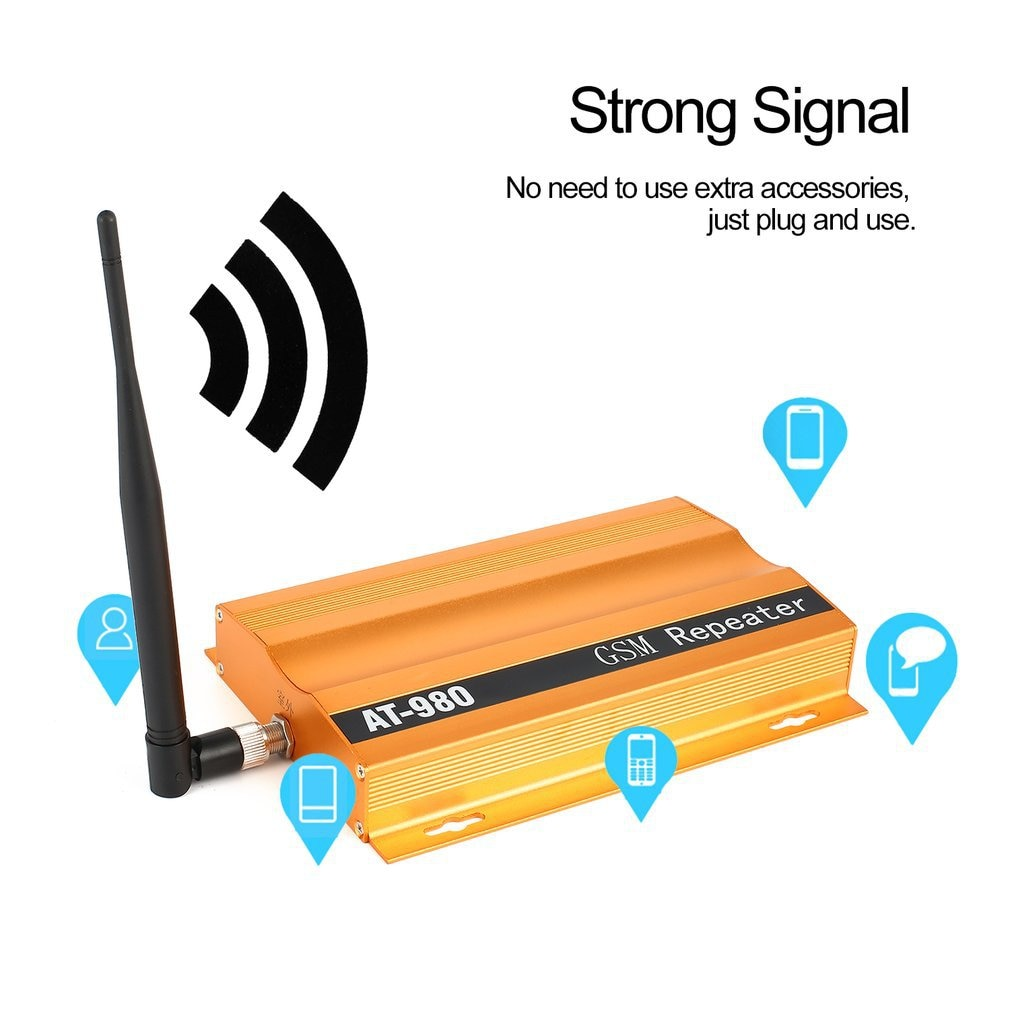 GSM 900mhz Mobile Phone Signal Booster Repeater Amplifier + Yagi Aerial Full-duplex Single-port Design AT-980 LESHP Piece
