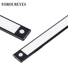 Iluminación LED ultrafina para armarios de cocina, luces con Sensor de movimiento PIR, recargable, de aluminio negro, 3 modos, 40cm