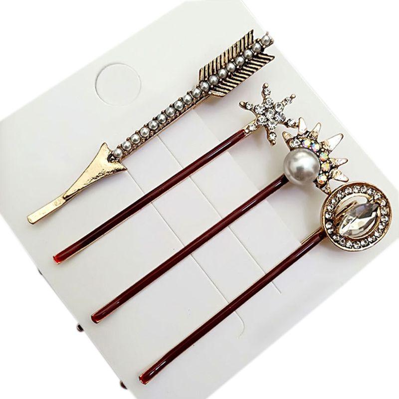 1 Set Women Metal Alloy One Word Bobby Pins Glitter Rhinestone Star Heart Arrow Hair Clips Vitnage Jewelry Hair Accessories T4MB