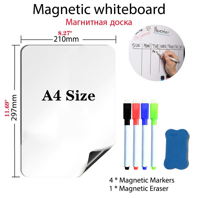Магнитная доска размером A4, ручки, виниловая доска для холодильника, сухая стираемая, доска для холодильника, магнитная заметка, гибкие увед...