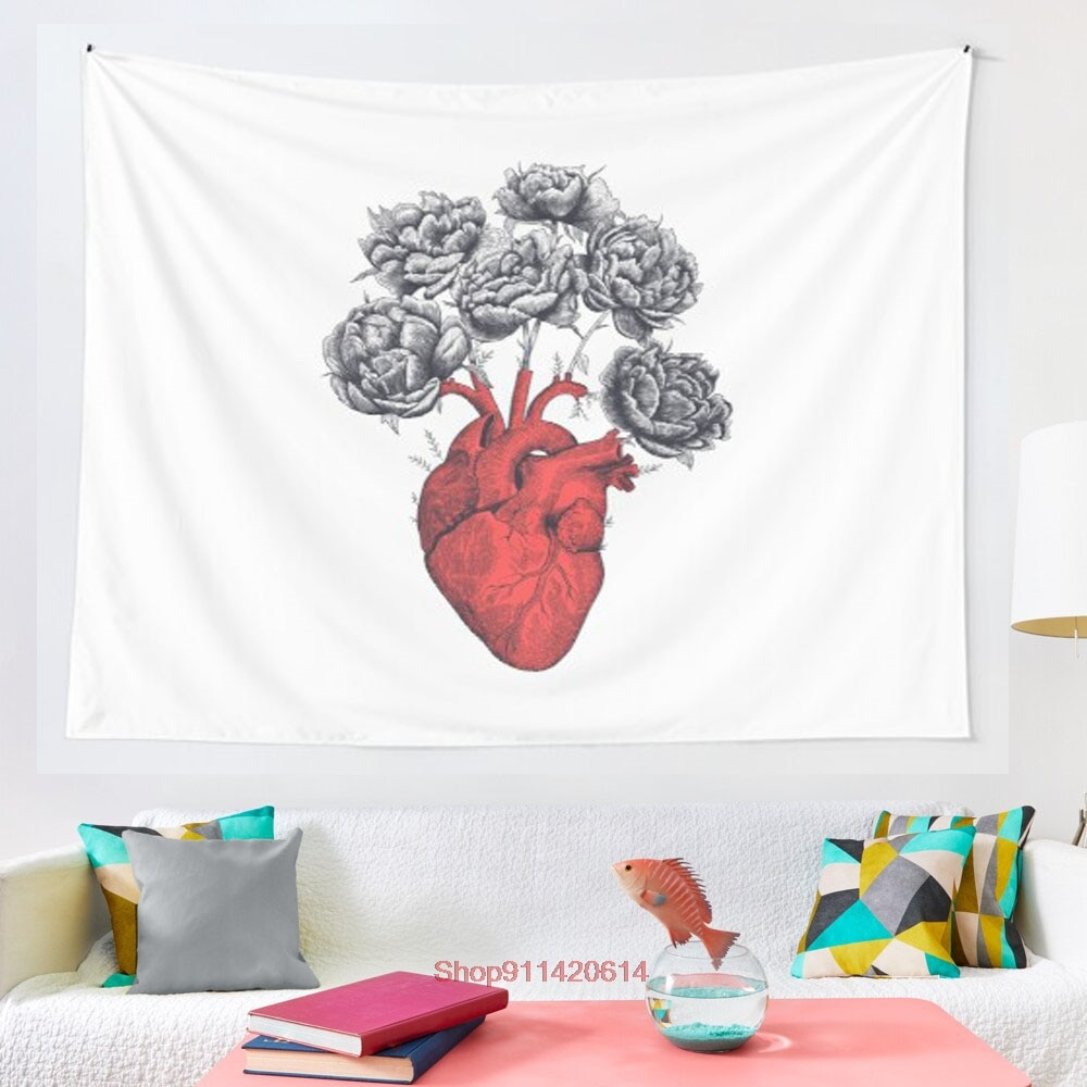 Heart with peonies tapestry Psychedelic Colorful Wall Hanging Tapestries Dorm Wall Art Yoga Mat