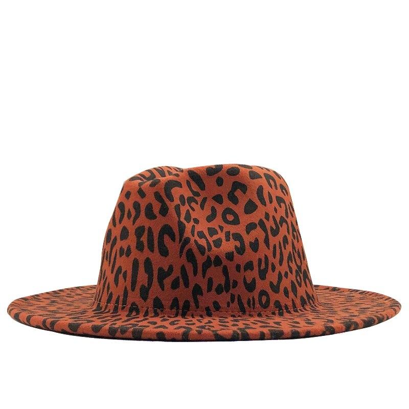 Moda leopardo feminino masculino chapéu de lã fedora elegante senhora inverno outono aba larga jazz igreja panamá sombrero boné 58-60 cm