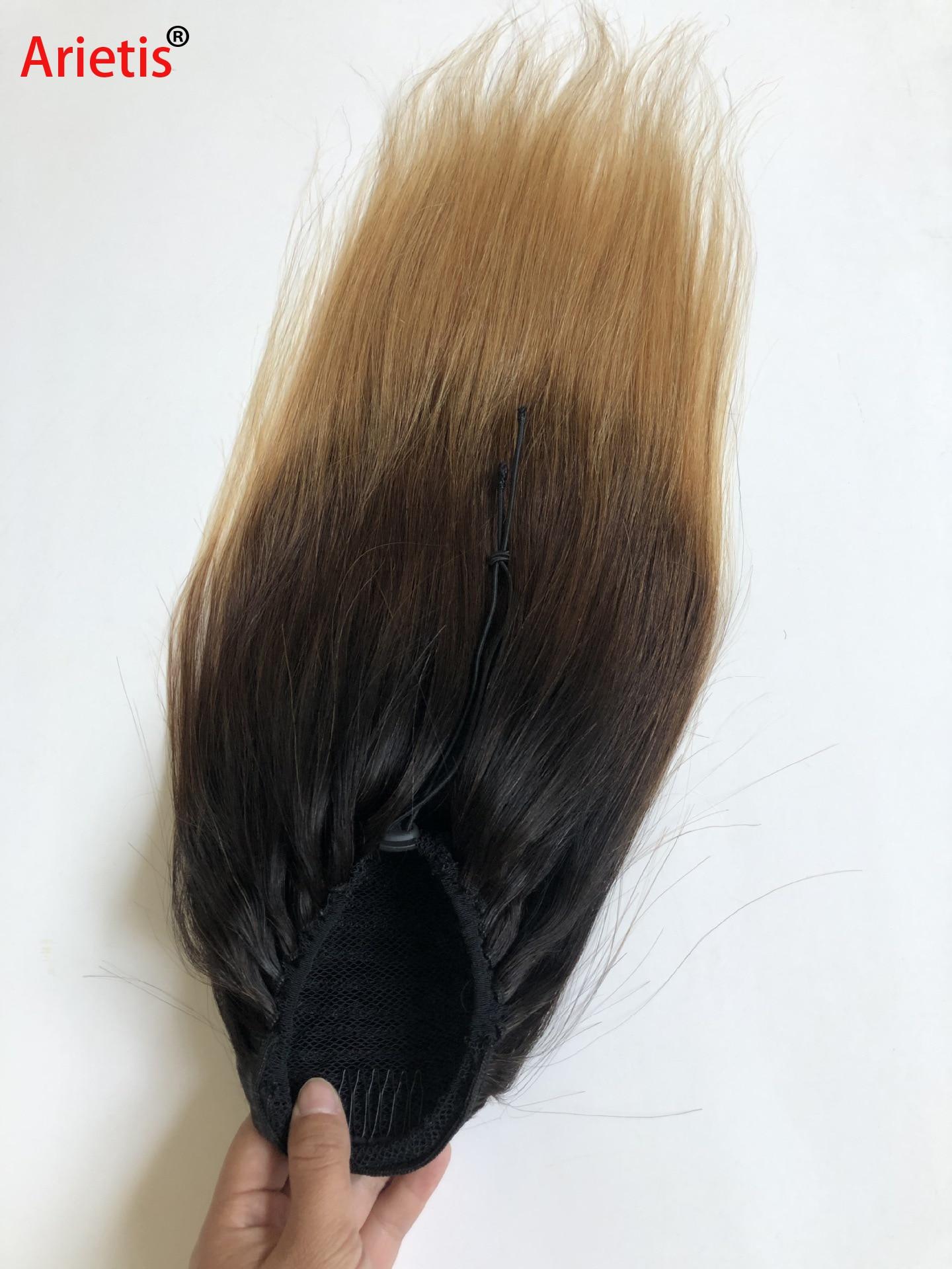 Arietis-وصلات شعر مستقيمة من بيرو ، شعر بشري ، ذيل حصان ، 10 إلى 26 بوصة ، للنساء البيض ، T1B/4/27 T1B/99J ، 100% ريمي