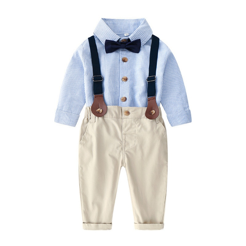 Conjunto de ropa para niños pequeños, traje de caballero, ropa de bautismo para niños, camisa de manga larga para niños, pantalones con tirantes y pajarita, atuendos