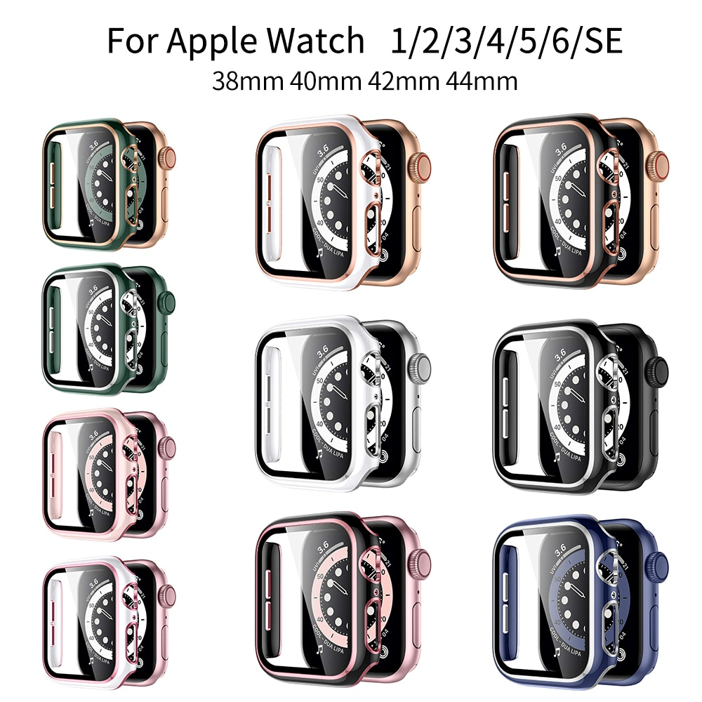 watch cover case for apple watch 6 5 4 3 2 1 se 44mm 42mm 40mm 38mm colorful screen full protector shell for iwatch watch case Glass+Case Full Cover For Apple Watch Case Series 6 SE 5 4 3 2 iWatch Case Accessor 44mm 40mm 42mm 38mm Protector Apple Watch
