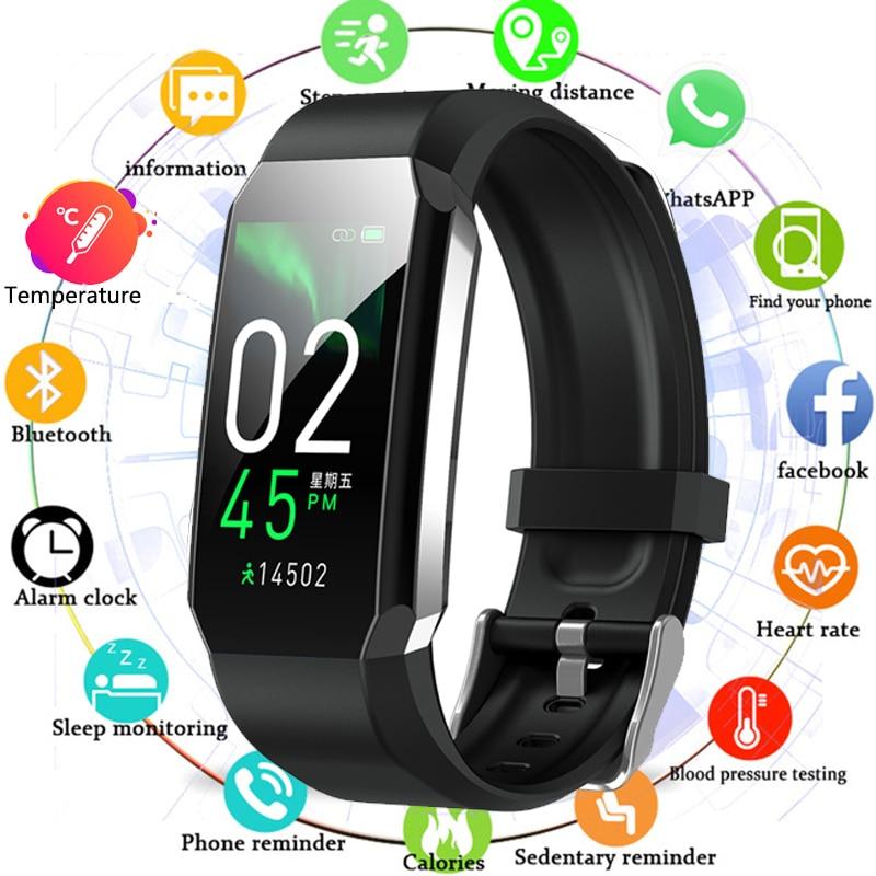 Sport Smart Band Body Thermometer Smart Bracelet Watch Men Women Blood Pressure Heart Rate Monitor F