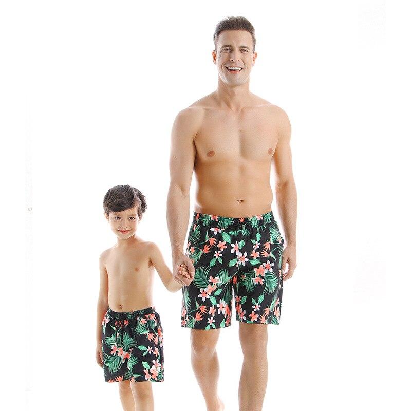 Fashion Family Matching Swimsuit One- Piece Swimwear Men Boys Beach Shorts Parent- Kids Bikini Print Striped Swim Nike Shorts