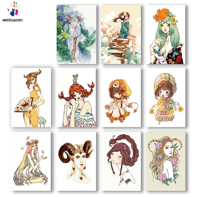 DIY kolorowanie obrazków według numerów w kolorach dwanaście konstelacji ilustracja obraz rysunek malowanie numerami oprawione strona główna