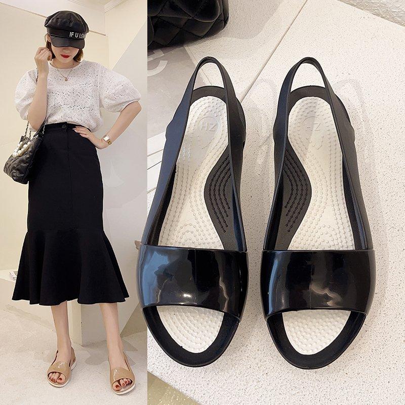 2021 летние Новый стиль пляжные женские сандалии обувь из дышащего материала, с открытым носком, туфли с широко открытым носком; Прозрачная об... недорого
