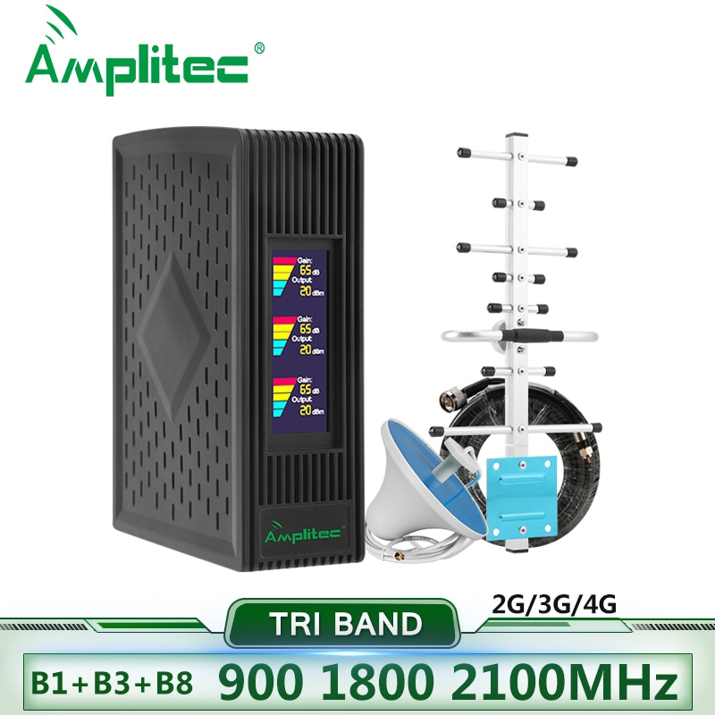Amplitec Tri-Band Cellular Amplifier 900 1800 2100MHz GSM Repeater Cellphone DCS 4g Signal Amplifier WCDMA Mobile Signal Booster