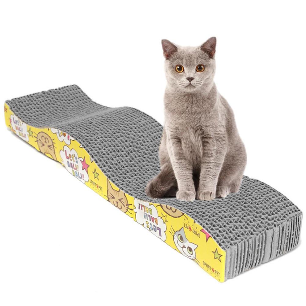 Drop Shipping Cat Kitten papel cartón corrugado rascador cama tapete garras cuidado 45x11x5cm