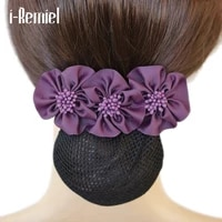 i remiel tulle floral lace satin hair cover stylish ribbon bowknot bow crochet bun net snood hair accesories hair pin women lady